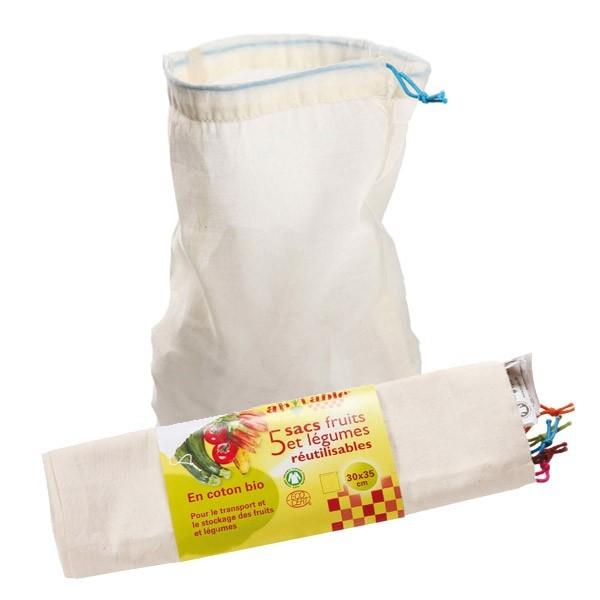 Lot de 5 sacs coton gradués réutilisables pour aliments/légumes