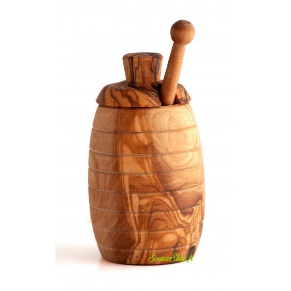 Pot de miel + cuillère à miel en bois d'olivier