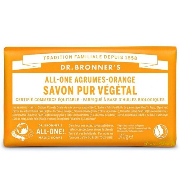 Savon solide BIO aux agrumes - 140g - Dr Bronner's