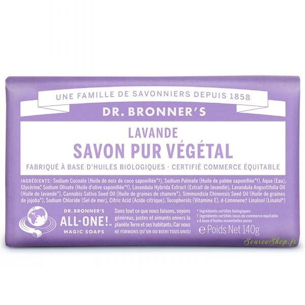 Savon solide BIO à la lavande - 140g - Dr Bronner's