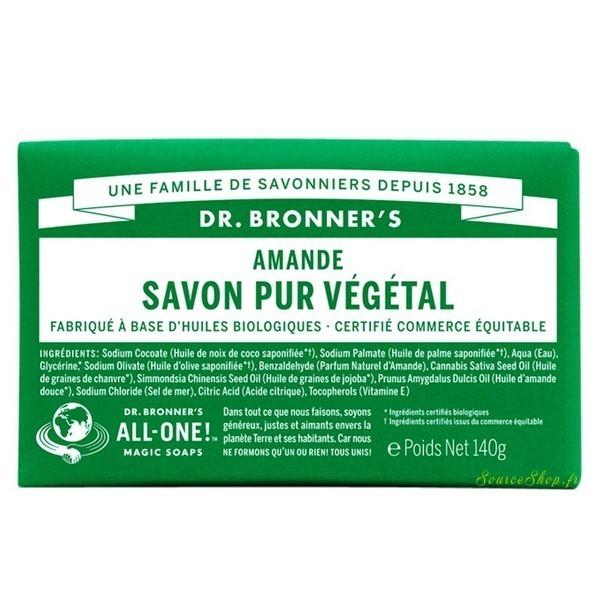 Savon solide BIO à l'amande - 140g - Dr Bronner's