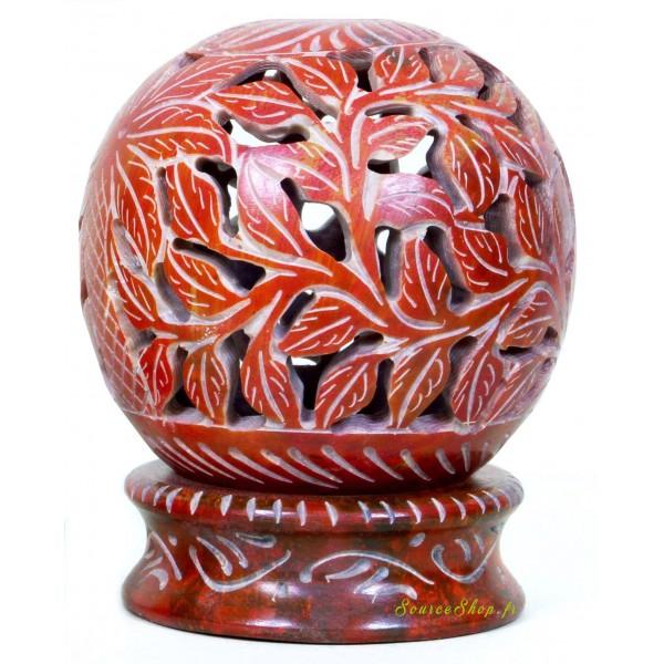 Bougeoir globe en pierre - Feuilles rouges