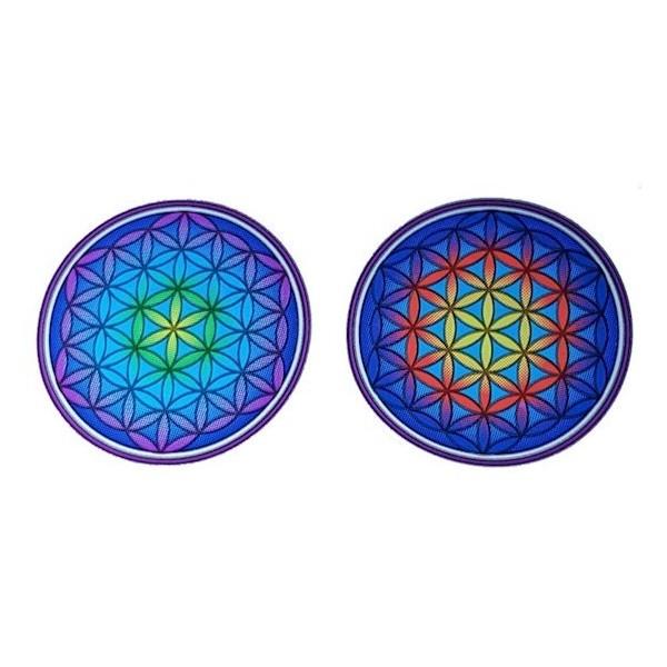 Lot de 2 adhésifs / stickers attrape-soleil Fleur de Vie Mandala