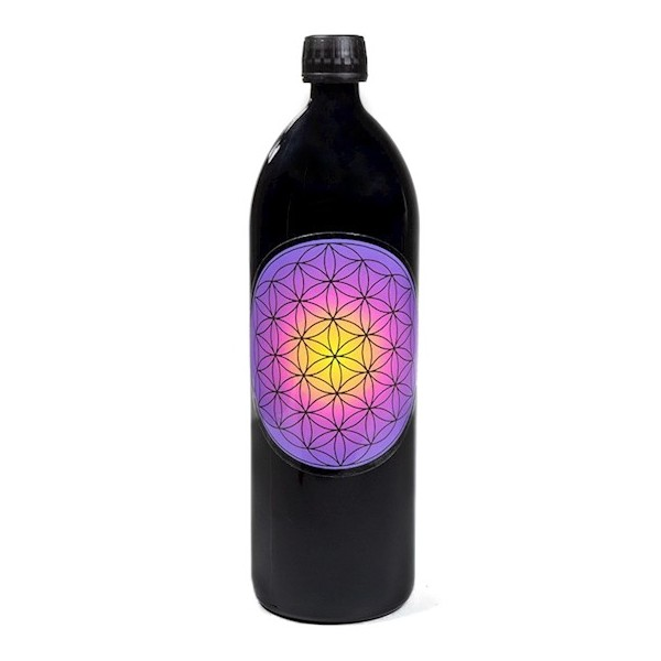Bouteille en verre Miron Fleur de Vie Mandala violet