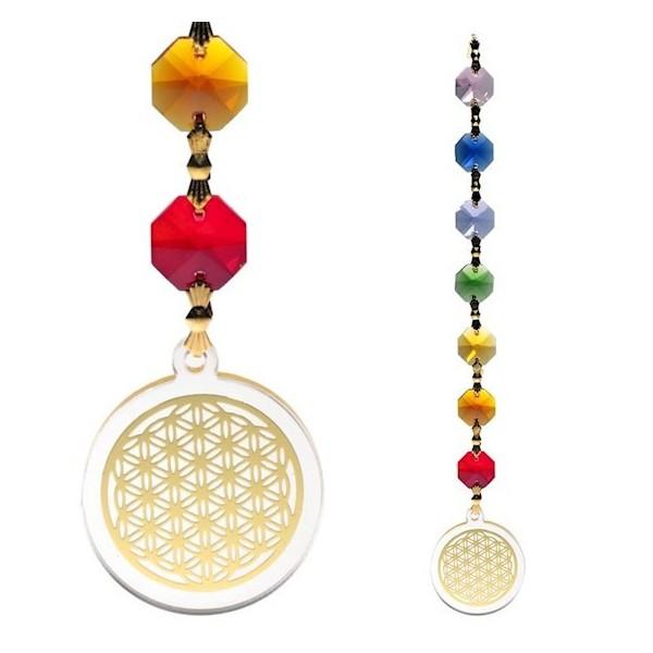 Attrape-soleil Fleur de Vie avec 7 cristaux colorés