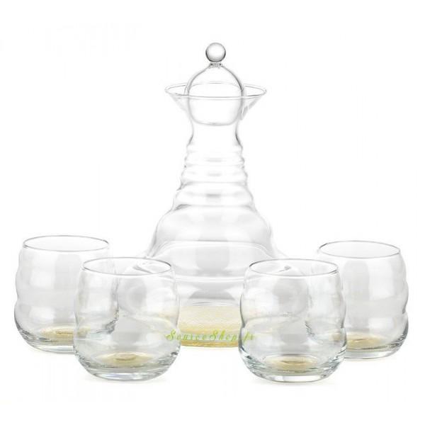 Carafe Alladin or 1.3L + 4 verres Mythos or