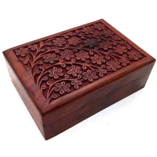 Coffret en bois sculpté - Arbre de vie / Fleurs