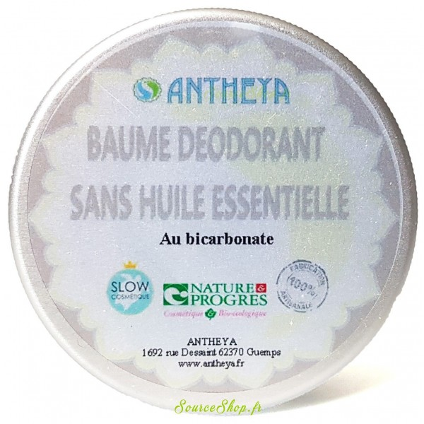 Déodorant baume BIO nature - sans huiles essentielles - 50g - Antheya