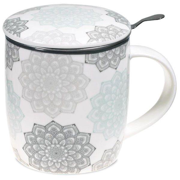 Mug à infusion en porcelaine avec filtre en inox - Mandala grise