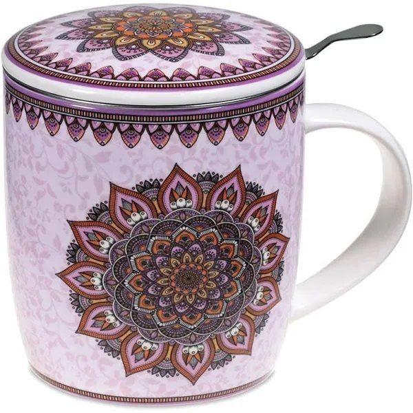 Mug à infusion en porcelaine avec filtre en inox - Mandala violet