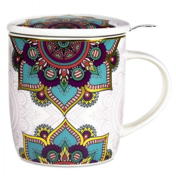 Mug à infusion en porcelaine avec filtre en inox - Mandala turquoise