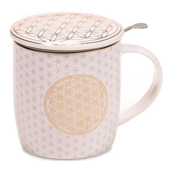 Mug à infusion en porcelaine avec filtre en inox - Fleur de Vie or