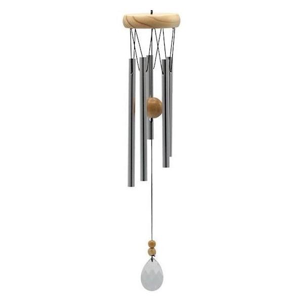 Carillon à vent à cinq tubes, bois & cristal - 48 cm