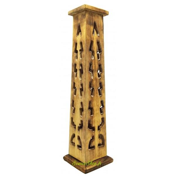 Brûleur d'encens vertical en bois motifs ethniques