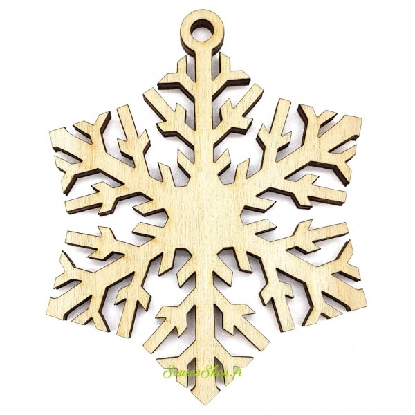 Suspension de Noël en bois - Flocon de neige - Artisanal & Français