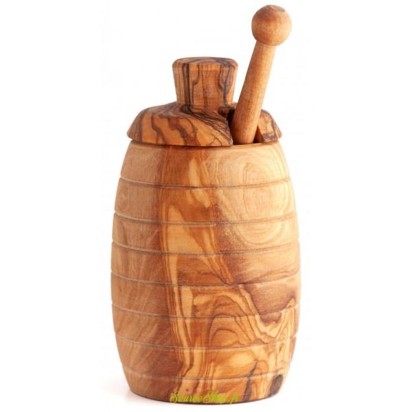 Pot de miel + cuillère à miel en bois d'olivier - français & artisanal