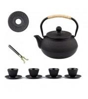 Service à thé: Théière Tetsubin + 4 tasses + assiette + porte couvercle