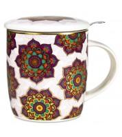 Mug à infusion en porcelaine avec filtre en inox - Mandala rouge