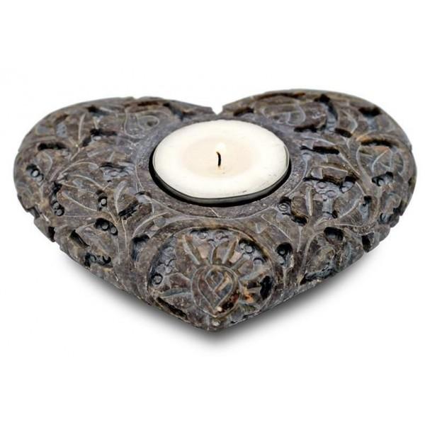 Bougeoir / porte encens coeur en pierre