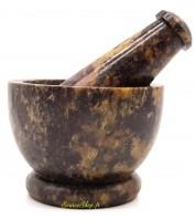 Mortier en pierre saponite noire