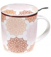Mug à infusion en porcelaine avec filtre en inox - Mandala rose