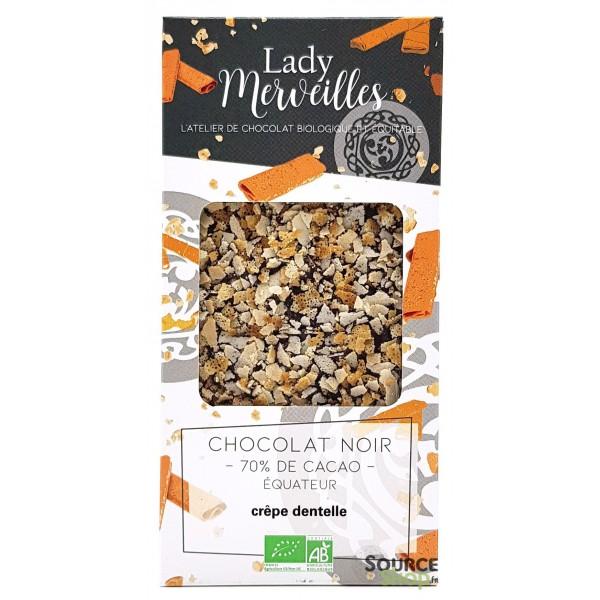 Chocolat noir praliné crêpes dentelles BIO - Artisanal & Français