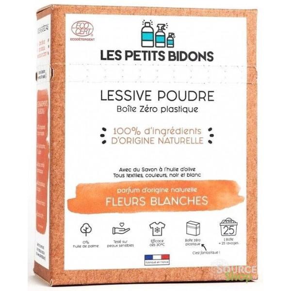 Lessive en poudre BIO fleurs blanches - 875g - Les Petits Bidons