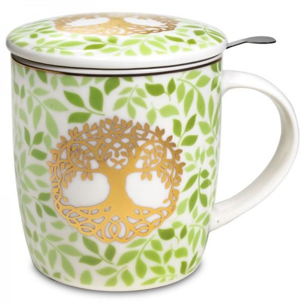 Mug à infusion en porcelaine avec filtre en inox - Arbre de vie