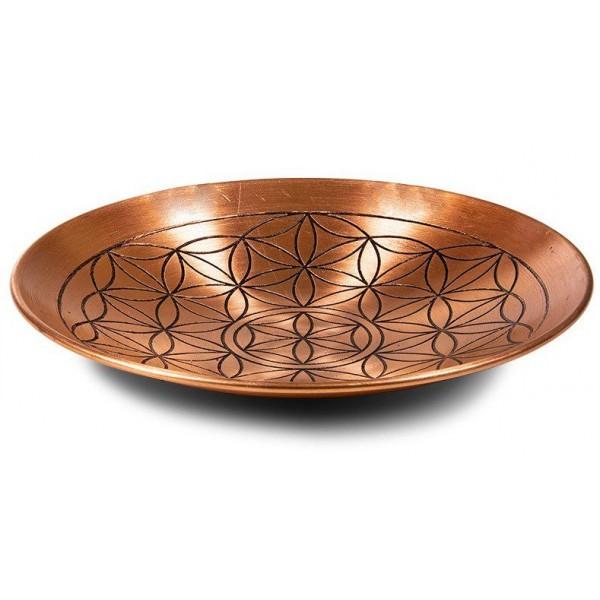 Assiette de cuivre fleur de vie