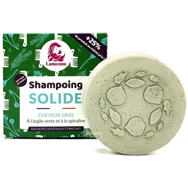 Shampooing solide pour cheveux gras à l'argile verte & spiruline - sans huile essentielle - Lamazuna