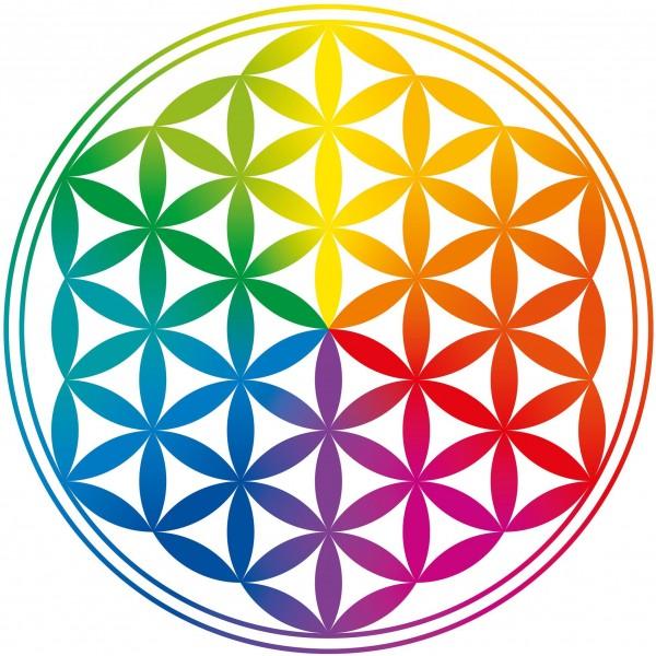 Adhésif / sticker attrape-soleil Fleur de Vie colorée