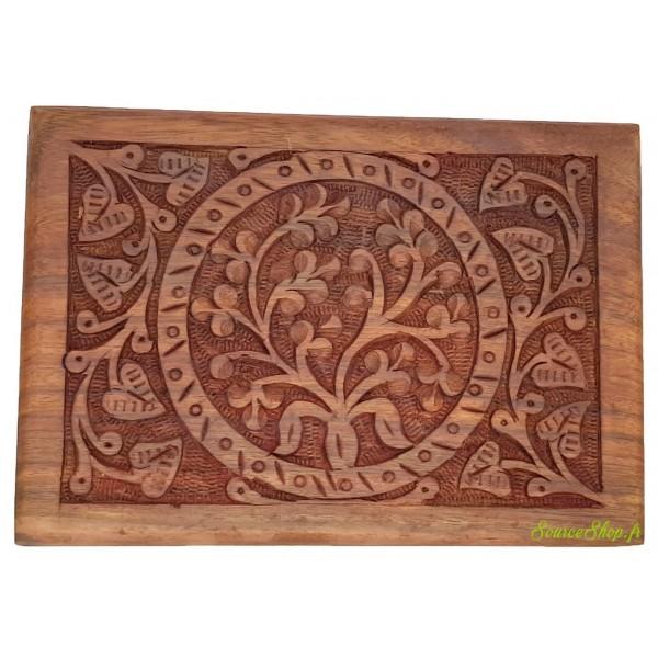 Coffret en bois sculpté - Arbre de vie