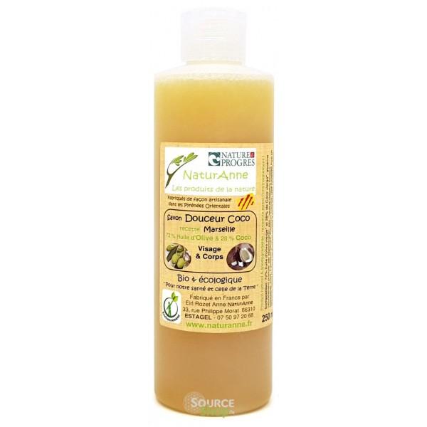 Savon de Marseille liquide BIO - Douceur coco - 250ml - NaturAnne