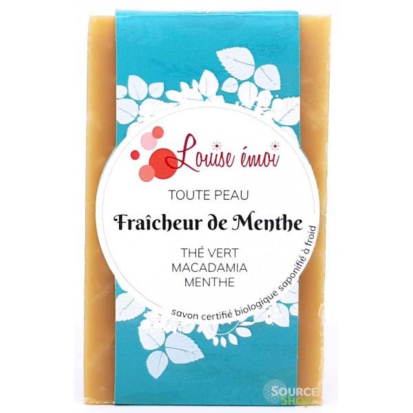 Savon BIO au thé vert & macadamia - Fraîcheur de Menthe - Louise émoi