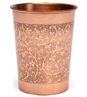 Gobelet en cuivre motif floral gravé - 250ml