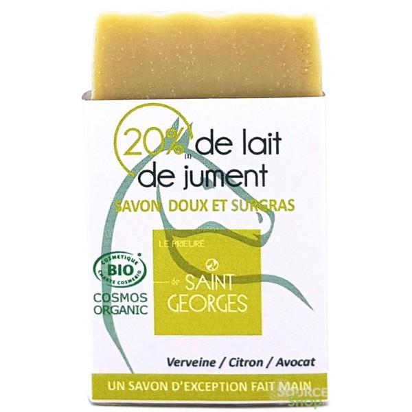 Savon BIO lait de jument & argile verte - verveine, citron & avocat - Le Prieuré de Saint-Georges