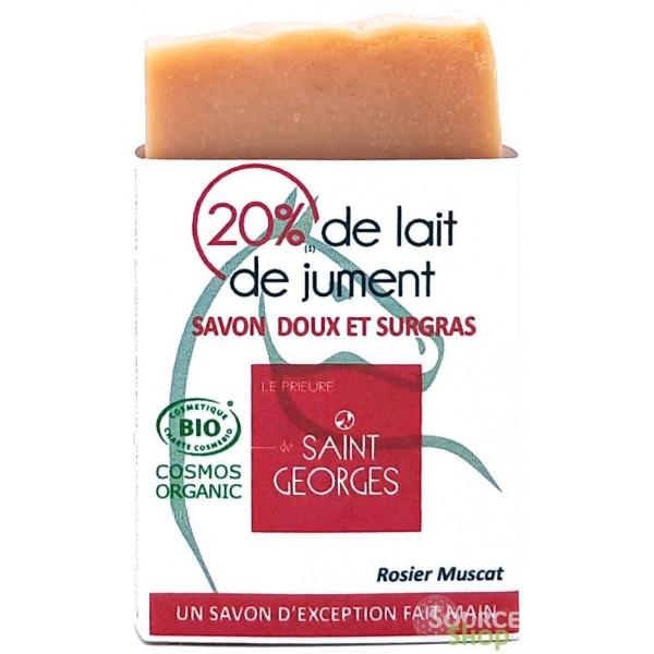 Savon BIO au lait de jument & rose - Le Prieuré de Saint-Georges