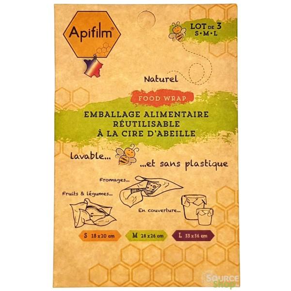 Emballage alimentaire à la cire d'abeille - 3 Pack S-M-L - Apifilm