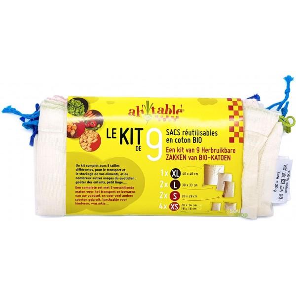 Kit 9 sacs coton BIO réutilisables pour aliments vrac - Ah! Table!