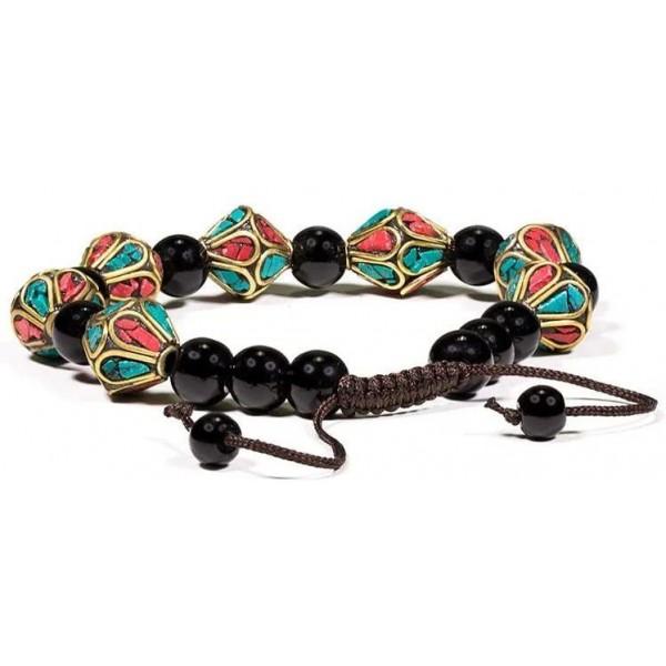 Bracelet turquoise, corail & agate noire - Equilibre et harmonie