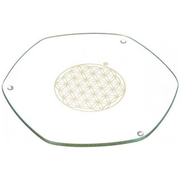 Plaque énergisante Fleur de vie Or en verre - Nature's Design