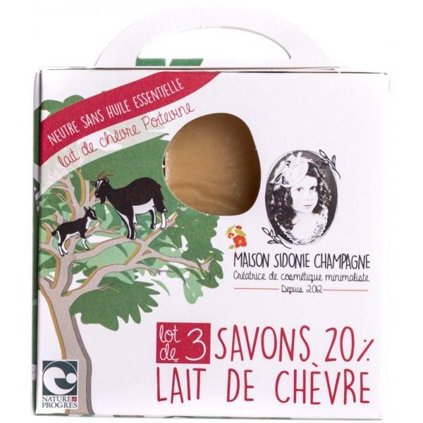 Pack de 3 savons BIO au lait de chèvre - sans huile essentielle