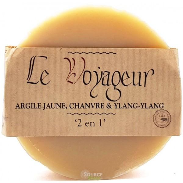 "Savon / Shampooing argile jaune, chanvre & ylang-ylang ""Le Voyageur"" - Savonnerie du Pilat"